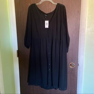 Torrid black chiffon shirt dress and slip